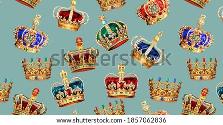Golden Crown Baroque Fashion Texture Pattern Photo stock ©