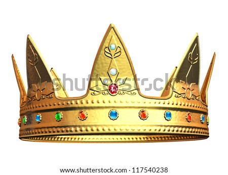 Golden Crown - isolated on white background