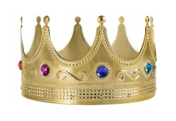 Golden crown replica with gem stones isolated on white background.