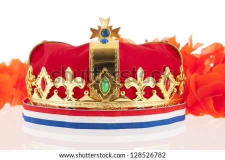 Golden crown with Dutch colors as orange, red white and blue