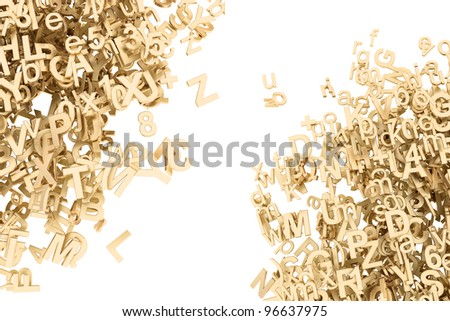 Golden 3D Block Letters and Digits on white
