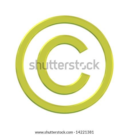 Golden 3d copyright symbol over white background