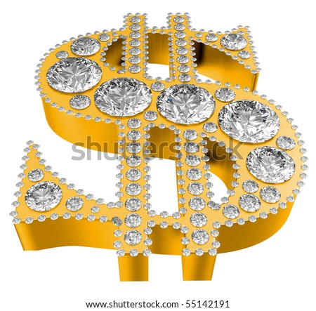 Golden 3D Dollar symbol incrusted with diamonds isolated over white. Extralarge resolution. Other gems are in my portfolio.