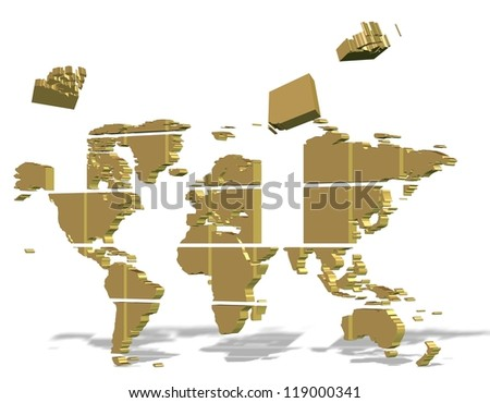 Golden 3d map of world made from square puzzle pieces / Puzzle world