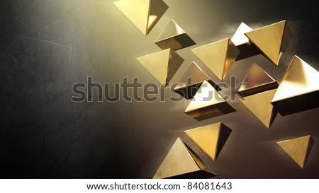 Golden 3D pyramids - stock photo