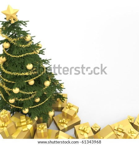 Golden decorated christmas tree wirh many presents and isolated on white seen from the top