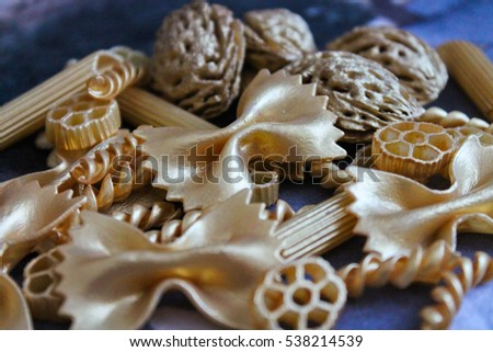 Golden decorative elements, Christmas decorations and gifts, Background, Texture