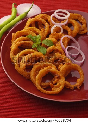 golden deep fried onion indian snack food
