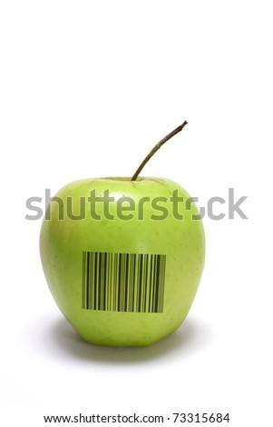 Golden Delicious Apple with Bar Code on White Background