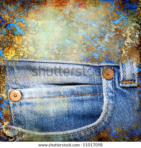 golden-denim abstract background with place for text