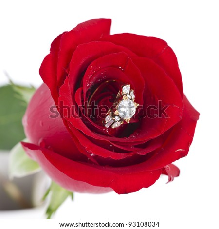Golden diamond ring and rose - stock photo