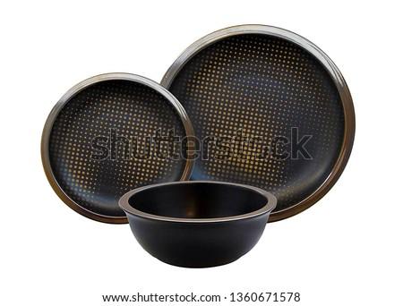 Golden dinner set, Golden dishware set, Golden teacup set. Black and Golden Dinner Set