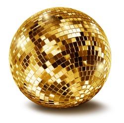 Golden disco mirror ball isolated on white background