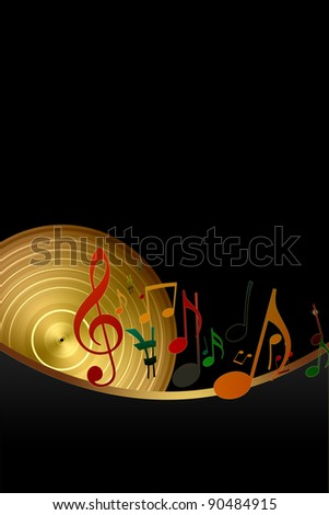 Golden Disk and Music Notes on Black Background