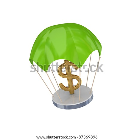 Golden dollar sign at green parachute.Isolated on white background.3d rendered.