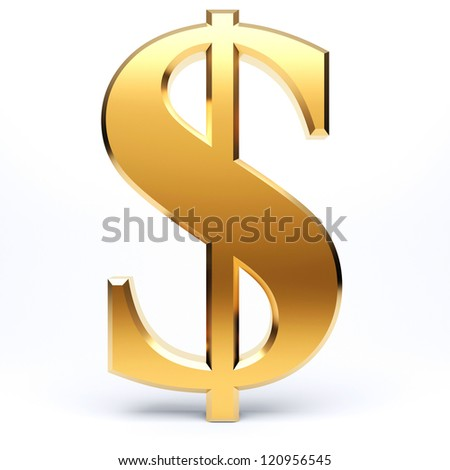 Golden dollar sign isolated on white background