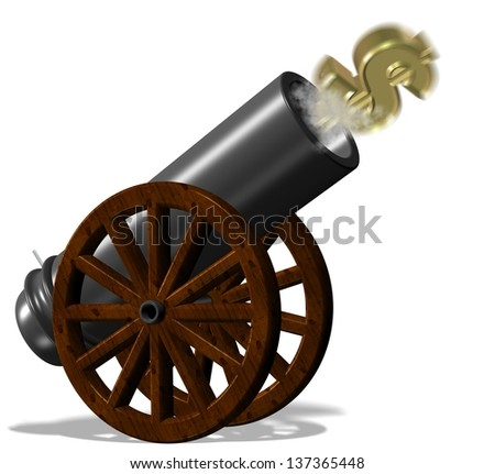 Golden dollar symbol fired from black vintage cannon / Flying dollar from cannon