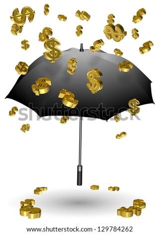 Golden dollar symbols falling down on a black umbrella / Raining dollars