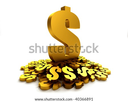 Golden dollar symbols isolated over a white background - stock photo