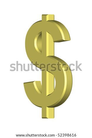 Golden dollar with clipping path