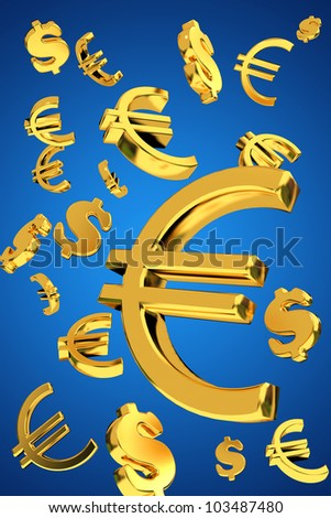 Golden dollars and euro falling money concept floating 3d