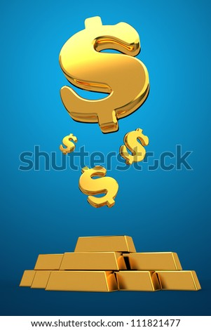 Golden dollars falling money concept floating 3d
