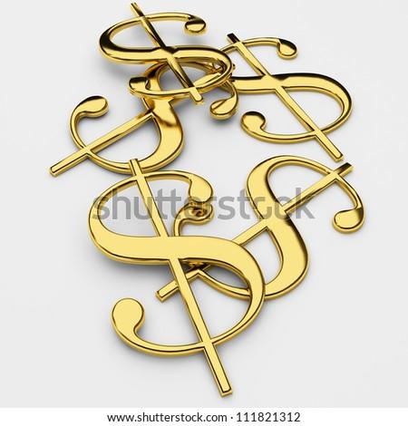 Golden dollars money concept on white