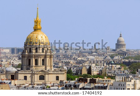 Golden dom of the Invalides, Paris panorama