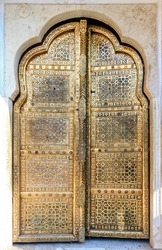 Golden Doors of Hawa Mahal or Palace of Winds in Jaipur, Rajasthan, India, Asia