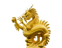Golden dragon, chinese golden dragon statue isolate on white background