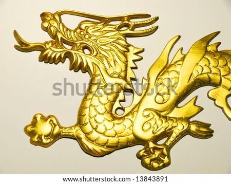 Golden Dragon Head in Isolation