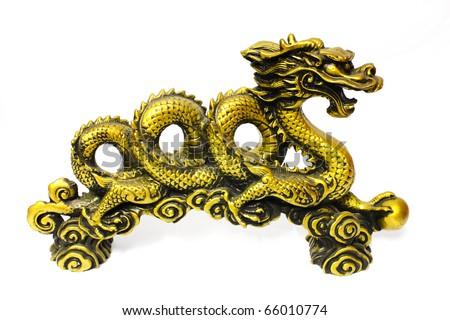 Golden dragon  isolate on white