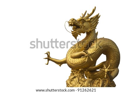 Golden dragon isolated on white with clipping path