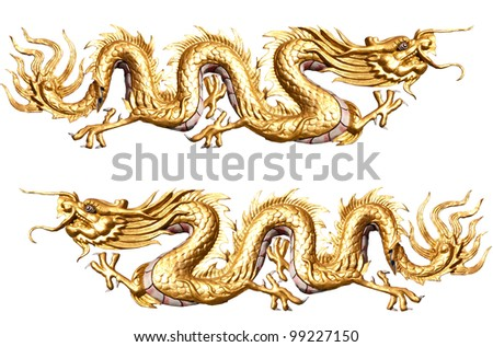Golden Dragon sculpture with isolate white background