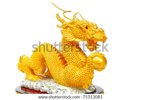 Golden dragon statue - Asian style art -  isolated on white background