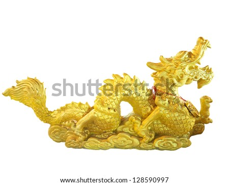 Golden Dragon statue isolated on white background.