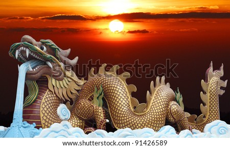 Golden dragon with sunrise background