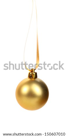 golden dull christmas ball on a white background