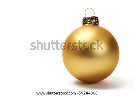 golden dull christmas ball on white background