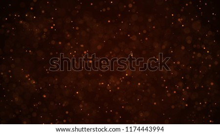 Golden dust particles. Abstract background of particles. 3d rendering.