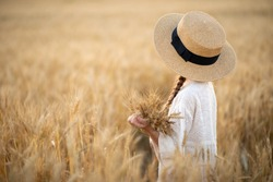 Golden ears in the hands of a girl. A little girl stands in a wheat field and looks into the distance. Girl in a straw hat. Image with selective focus.