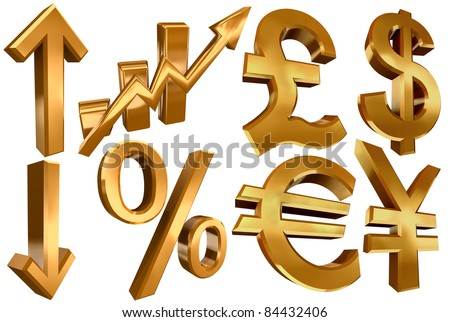 golden economy symbols euro dollar pound yen arrows per cent and statistic bars