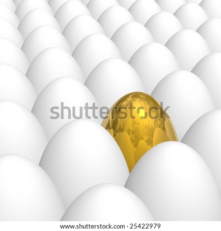 golden egg among white eggs with natural shell texture
