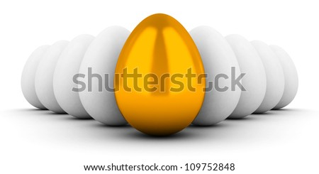 golden egg concept leader out of the white group - stock photo