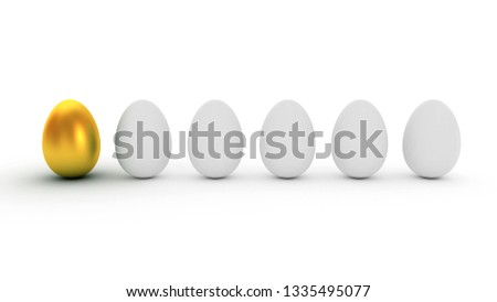 Golden Egg. Difference / uniqueness concept image. 3D rendering illustration