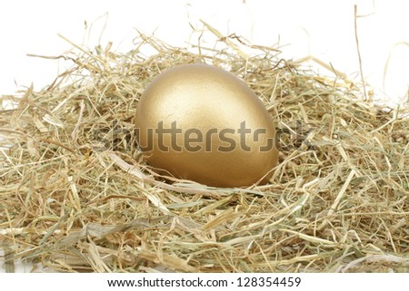 Golden egg in straw