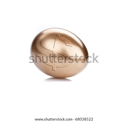 Golden egg isolated on the white background