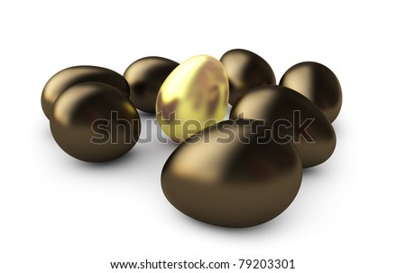 Golden egg, isolated on white background.