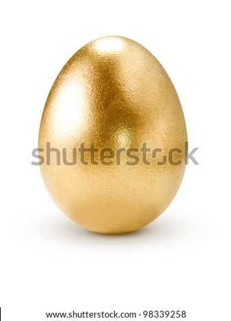 Golden egg isolated on white background.