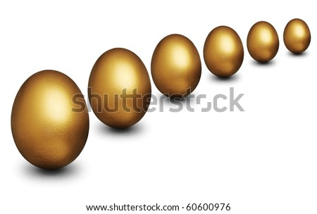 Golden egg representing financial security against a white background - stock photo